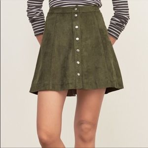Abercrombie Olive Suede Skirt